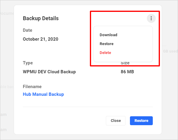 The Hub: Backups tab - Backup details with Snapshot Settings screen.