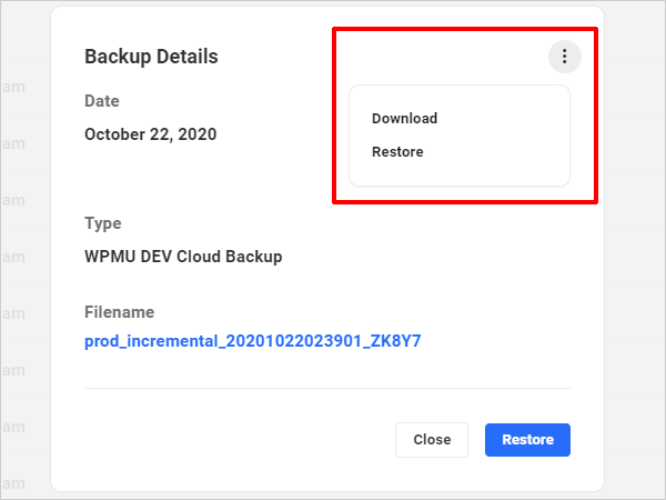 The Hub: Backups tab - Backup details with Settings screen.