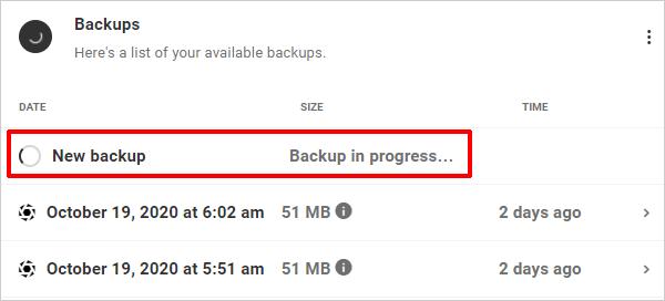 The Hub: Backups tab - Backups in Progress.