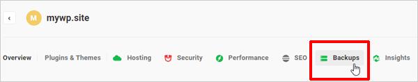 The Hub - Backups tab.