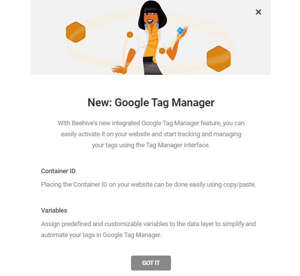 Screenshot of Beehive's Google Tag Manager announcement stating that you can use the container ID on your site and set variables.