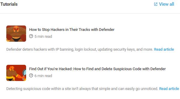 Screenshot of the tutorials within Defender's UI.