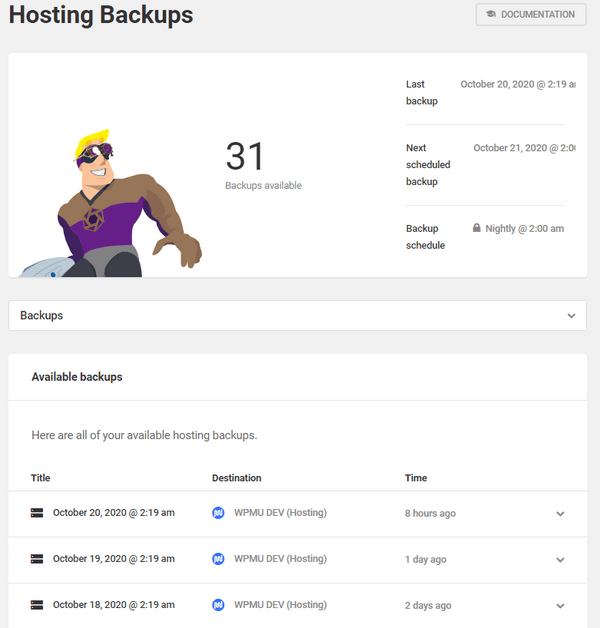 Screenshot of the hosting dashboard showing 31 backups