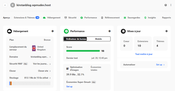 Screenshot of the Hub in French