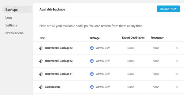 Screenshot of four backups within Snapshot.