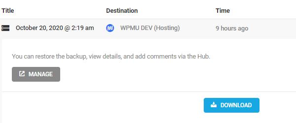 Screenshot of the manage option on hosting backups.