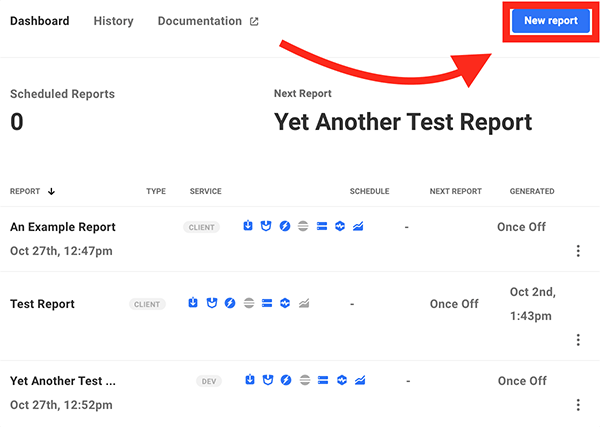 Where you click to create a new report.