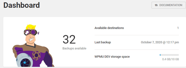 Screenshot of the overall dashboard showing 32 backups available.