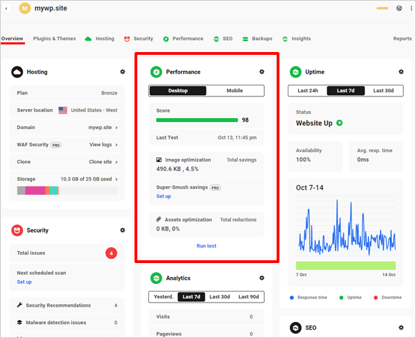 The Hub: Overview section -Performance panel