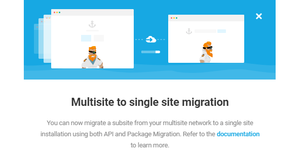 Screenshot fro Shipper's setup screen where it states you can migrate multisite to single.
