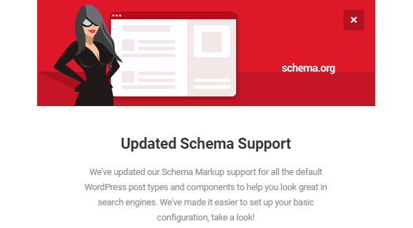 Screenshot of the SmartCrawl schema update announcement.