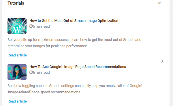 Screenshot of Smush's tutorials direct from the UI.