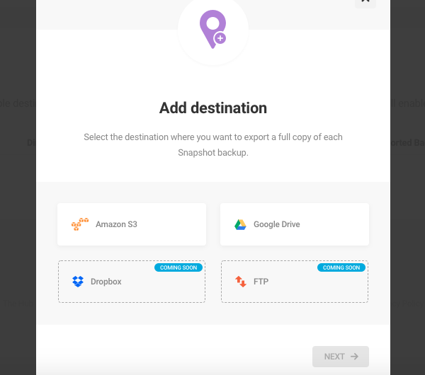 A screen showing Snapshot's available backup destinations