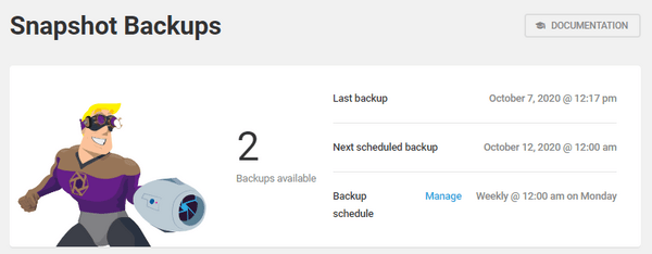 Screenshot of snapshot's dashboard showing 2 backups available.