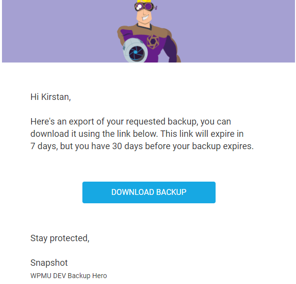 Screenshot of the email you receive with a link to download your backup.