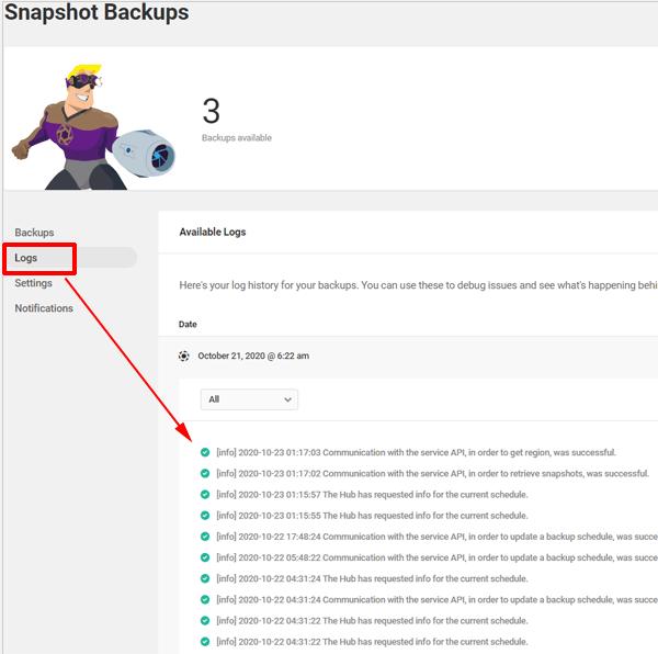 Snapshot Backups Screen - Logs