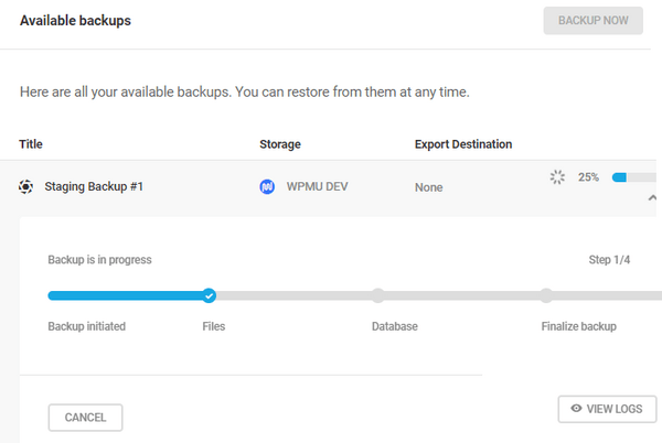 Screenshot of a staging backup showing 25% progress.