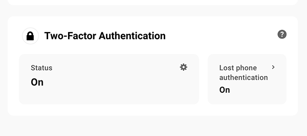 Two-factor authentication area.