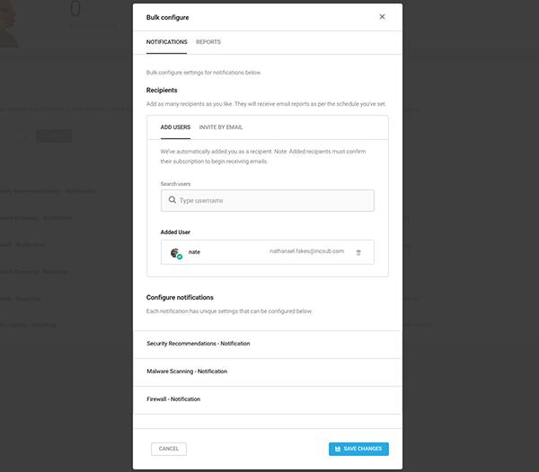 Bulk configure reports area.
