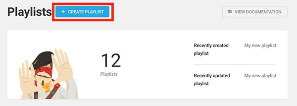 The create a playlist button.