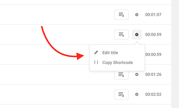 Where you edit the title and copy shortcode.