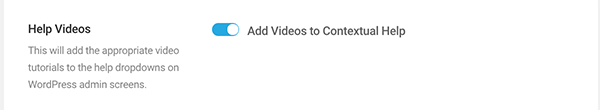 Where you add videos to contextual help area.
