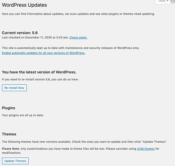 The WordPress updates.