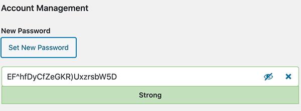 The WordPress generated password.