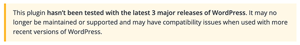 The message for an outdated plugin in WordPress.