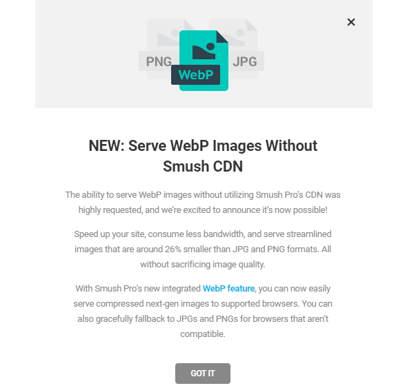 Screenshot of the webp announcement page.