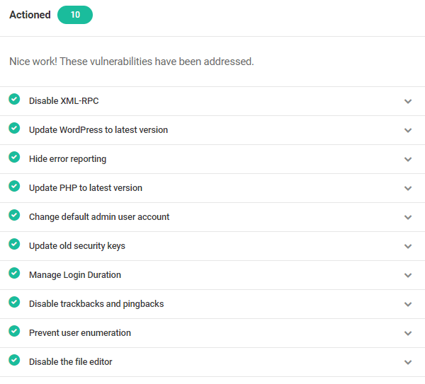 Screenshot of all the actioned vulnerabilities.