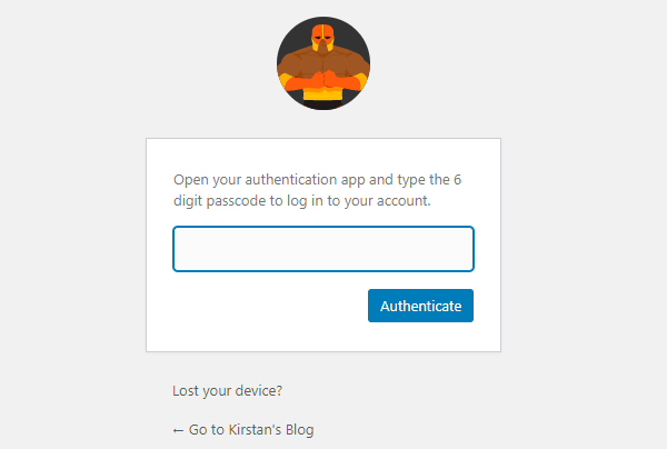 Screenshot of Defender's page asking you to input the authentication code.