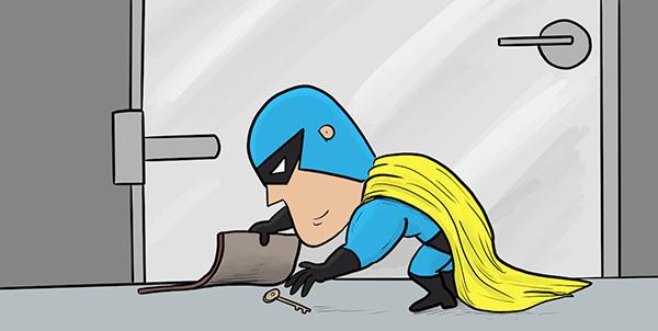 Cartoon drawing of Devman obtaining a key from under a doormat.
