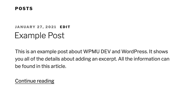 Example of an excerpt in WordPress.