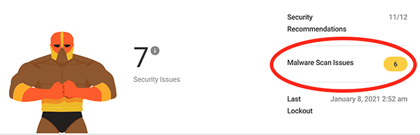 The number of malware scan issues.