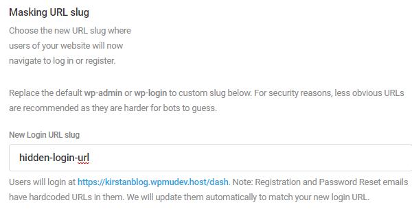 "Screenshot of using the masking URL feature to change the URL to ""hidden-login-URL"""