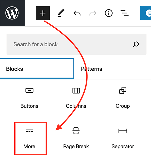 The More block in WordPress.