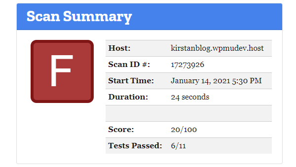Screenshot of the result of the test.