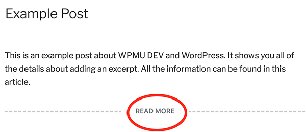 The Read More page break in WordPress.
