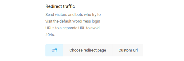 Screenshot of the option to redirect traffic.