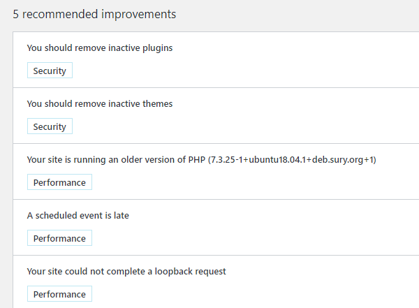 Screenshot of the WordPress tools recommendations.