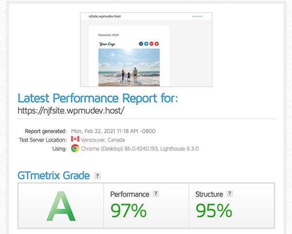 GTmetrix score.
