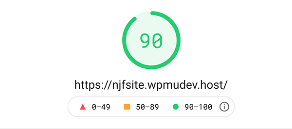 PageSpeed insight score of 90.