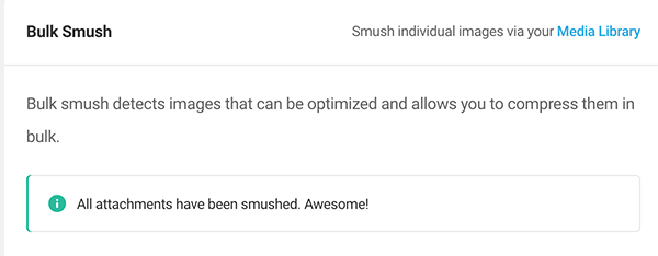Message when bulk smush is complete.
