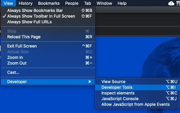 A visual showing how to navigate to DevTools