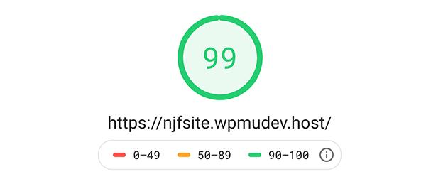 Google pagespeed insights score.