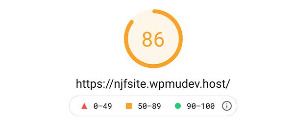Google pagespeed insight score of 86.