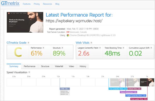 GTmetrix results after initial setup.
