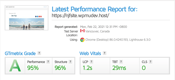 Gtmetrix report showing a A rating.
